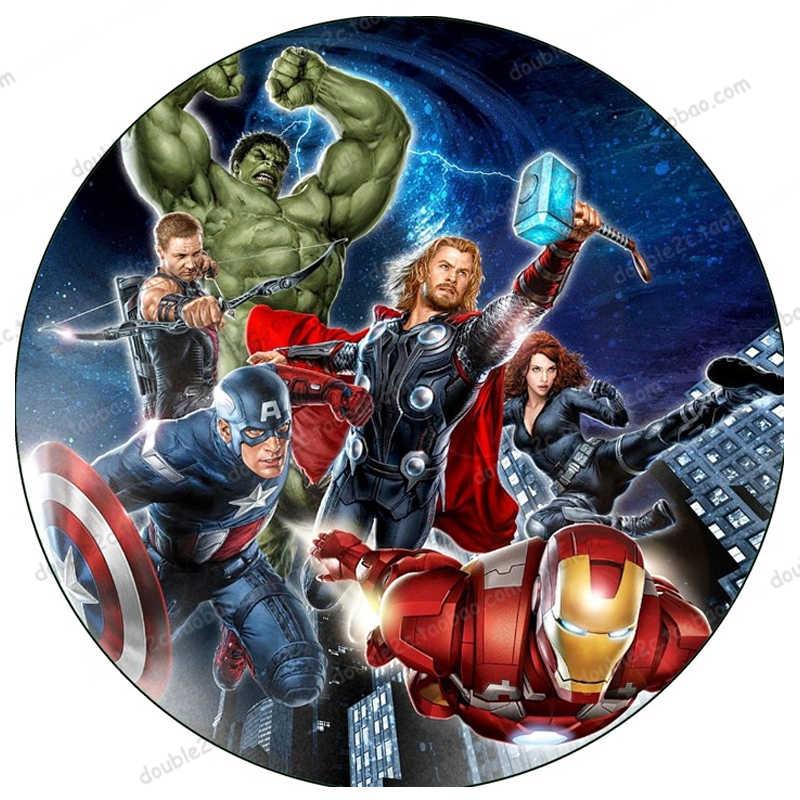 """Commestibile Carta per Cake Topper 1pcs 8 """"Avengers Super Heroes Captain America Thor Hulk Iron Man Decorazione Del Partito bambini Fornitori"""