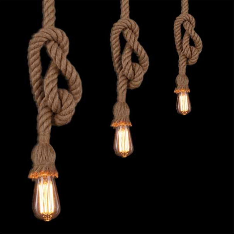 Retro Vintage Rope Pendant Light Lamp Loft Creative Personality Industrial Lamp Edison Bulb American Style For Living Room american edison loft style rope retro pendant light fixtures for dining room iron hanging lamp vintage industrial lighting