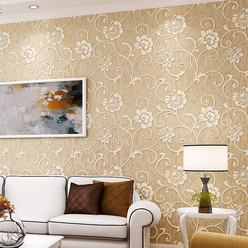 European Pastoral 3D Embossed Non-Woven Wallpaper Romantic Floral Wall Paper Bedroom Living Room TV Backdrop Wall Decor Art
