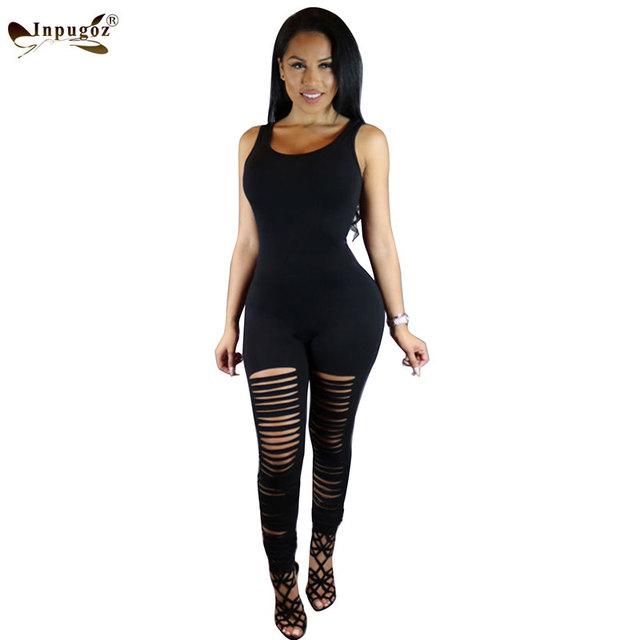 Tendencia de La Moda Caliente Negro sólido Sexy Ahuecan Hacia fuera Del Club Flaco Mujeres Sin Mangas Largas Mamelucos Mujeres Buzos