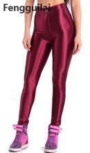 Calça lápis feminina estilo americano, brilhante, disco, cintura alta