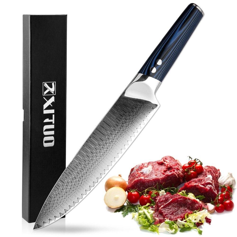 XITUO 8 дюймов Professional Chef ножи 67 слоев японский VG-10 Дамасская сталь кухонный нож кованые Santoku Кливер кухонный инструмент