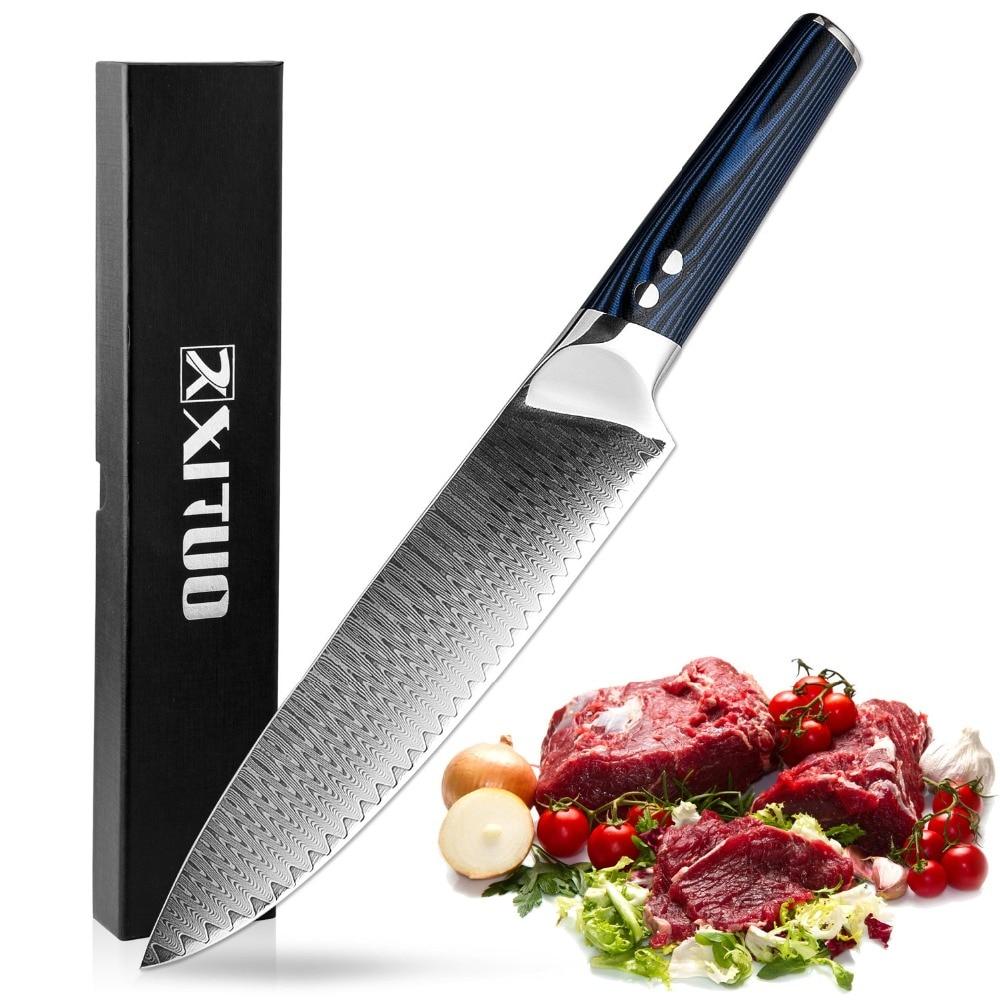 XITUO 8 pouces Chef Professionnel Couteaux 67 Couches Japonais VG-10 Damas Couteau de Cuisine En Acier Forgé Santoku Couperet Cuisine Outil