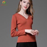 2017 New Fashion Women Knitted Shirt V Neck Knitted Pullovers Rivet Full Sleeve Plus Size Stretch