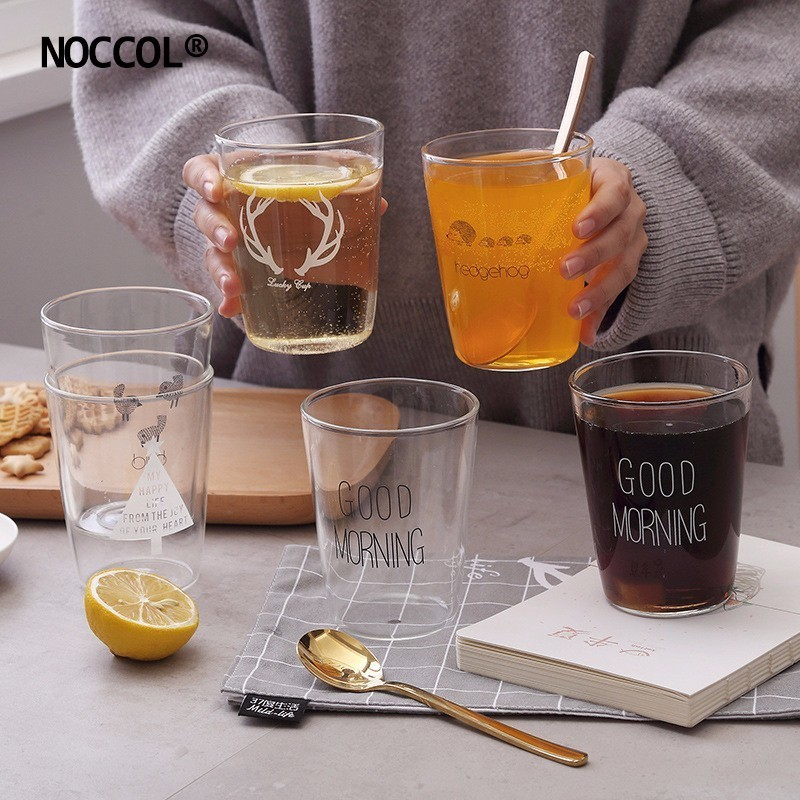 NOCCOL Originality Good Morning Glass Water Cups New Hot Elk Tree Animal Coffee Mugs Glasses Breakfast Tea Milk Cup Vetro Mug