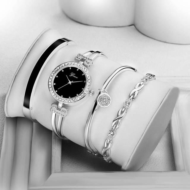 2018 New Fashion Elegant Women Watches Silver Crystal Bracelet 4pcs Set Luxury Golden Steel Ladies Quartz Wristwatches Gifts