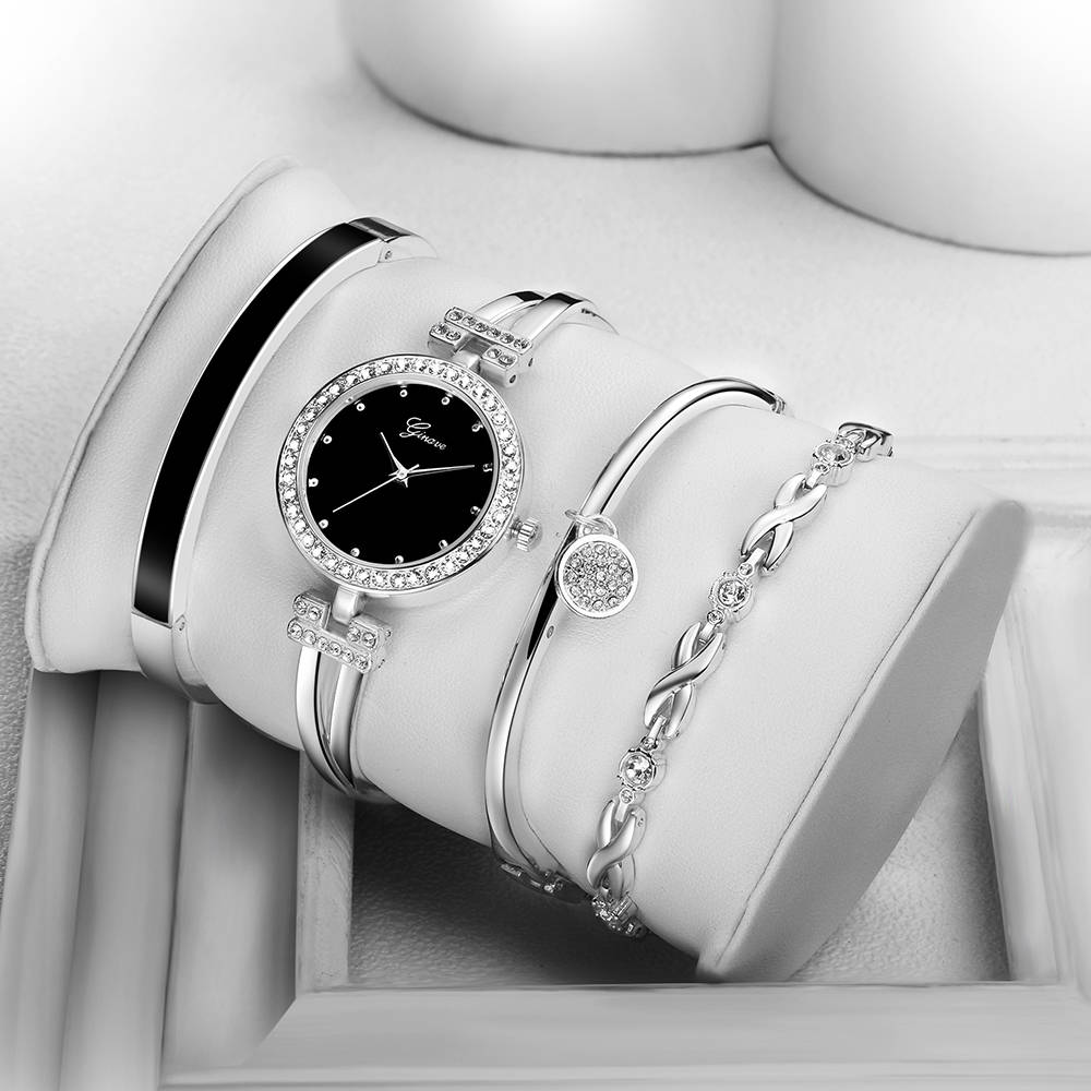 New Fashion Elegant Women Watches Silver Crystal Bracelet 4pcs Set Luxury Golden Steel Ladies Quartz Wristwatches Gifts