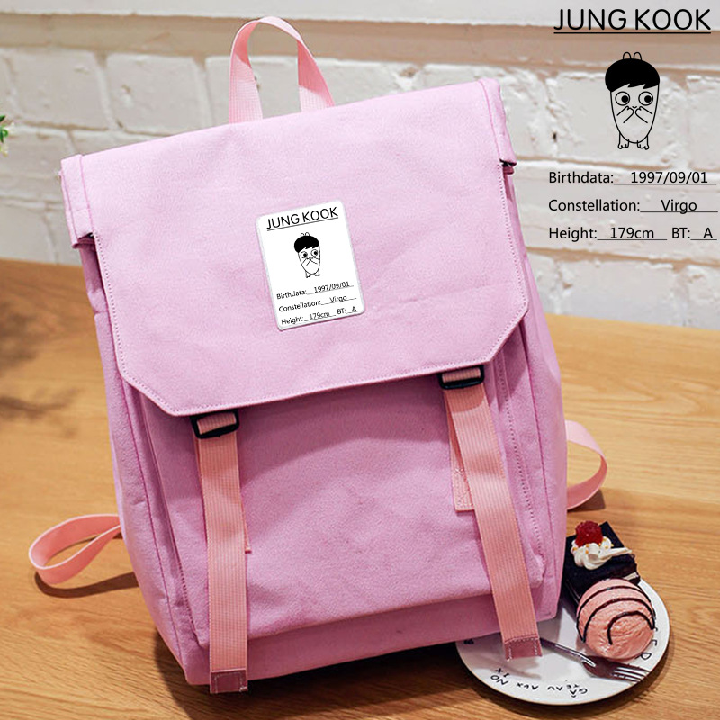 New Preppy Style BTS Bangtan Boys JUNG KOOK JIMIN SUGA Printing Women Backpack Canvas School Bags Mochila Feminina Travel Bags ciker new preppy style 4pcs set women printing canvas backpacks high quality school bags mochila rucksack fashion travel bags