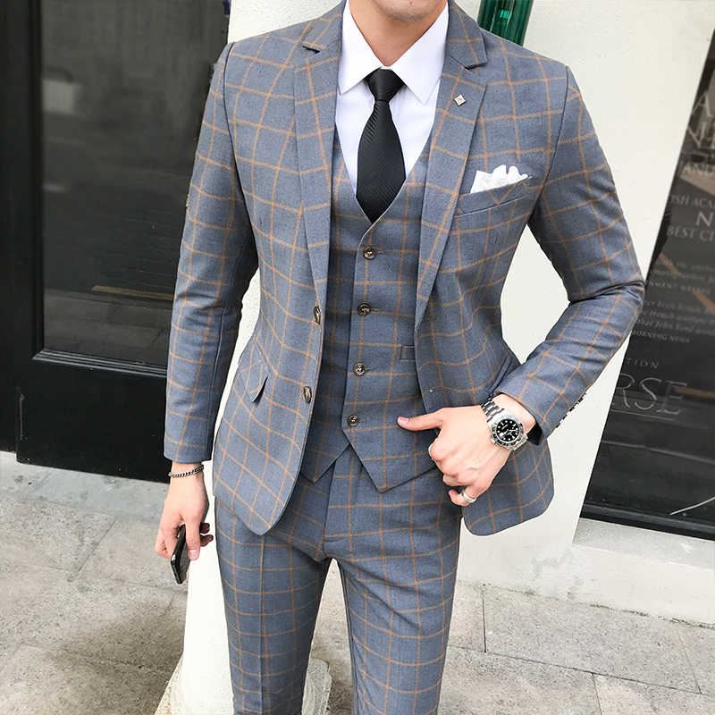 British Plaid Men's Suit Sets 2019 Autumn New Formal Party Prom Wedding Dress Clothing High Quality 3PCS (Jacket+Vest+Pant) 5XL