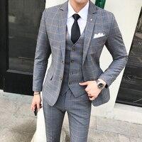 2018 Autumn Winter Men's Suit (jacket+vest+trousers) England Style Plaid Suit Set Dress Slim Fit Wedding Tuxedo Formal Clothes