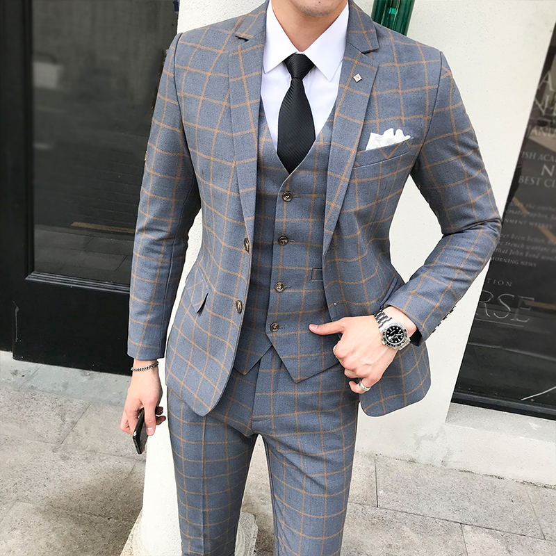 3 Piece Plaid Slim Men Suit Grey Red Check Tuxedo Suit Male Groom Wedding Evening Formal Dress Suits For Men Jackets Vest Pants