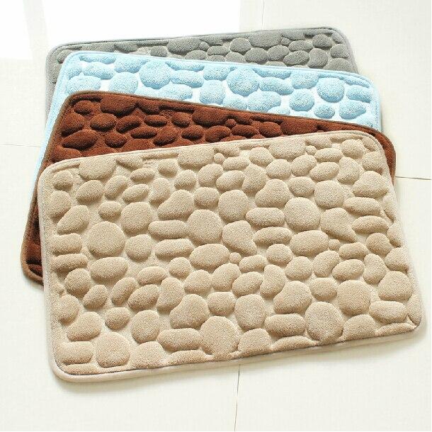 Bath Rug Pebbles Natural Sbr Rubber Mat Bottom E Memory Cotton Rebound Super