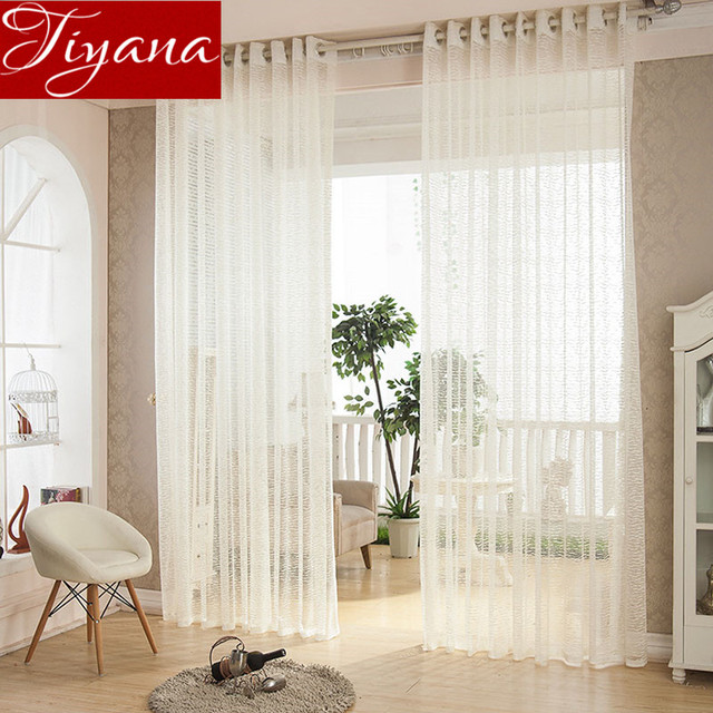 Modern Simple Solid Knitted Curtains Yarn Sheer Window Screen Voile For  Living Room Balcony Kitchen Curtains