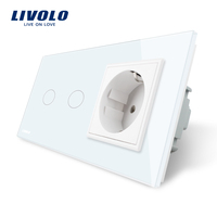 Livolo 16A EU Standard Wall Power Socket White Crystal Glass Panel Touch Switch With Wall Outlet