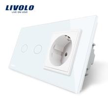 Livolo 16A стандарт ЕС стены Мощность разъем, Белый хрусталь Панель, сенсорный выключатель с розетки, VL-C702-11/VL-C7C1EU-11