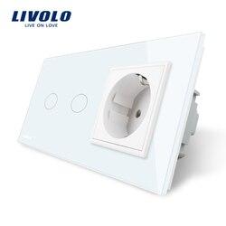 Livolo 16a tomada de parede padrão da ue com interruptor de toque, ac220 ~ 250 v, painel vidro cristal branco, VL-C702-11/VL-C7C1EU-11