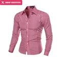 Мода Клетчатые Рубашки Мужчины С Длинным Рукавом Slim Fit Рубашка Смешно мужские Высокое Качество Социальной Clothing Человек Masculina Camisas 7 Цвета 5843