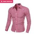 Fashion Plaid Shirts Men Long Sleeve Slim Fit Funny Shirt Mens High Quality Social Clothing Man Masculina Camisas 7 Colors 5843