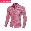 Tela Escocesa de la moda Camisas de Los Hombres de Manga Larga Slim Fit Camisa Divertida para hombre de alta calidad clothing hombre masculina camisas sociales 7 colores 5843