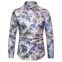 New model Shirts Long Shirt for Mens clothing Hip hop Casual Blouse Men Slim fit Fashion print