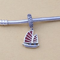 ZMZY 925 Sterling Silver Charm Chinese Junk Ship Silver Dangle With Clear Cubic Zirconia And Red