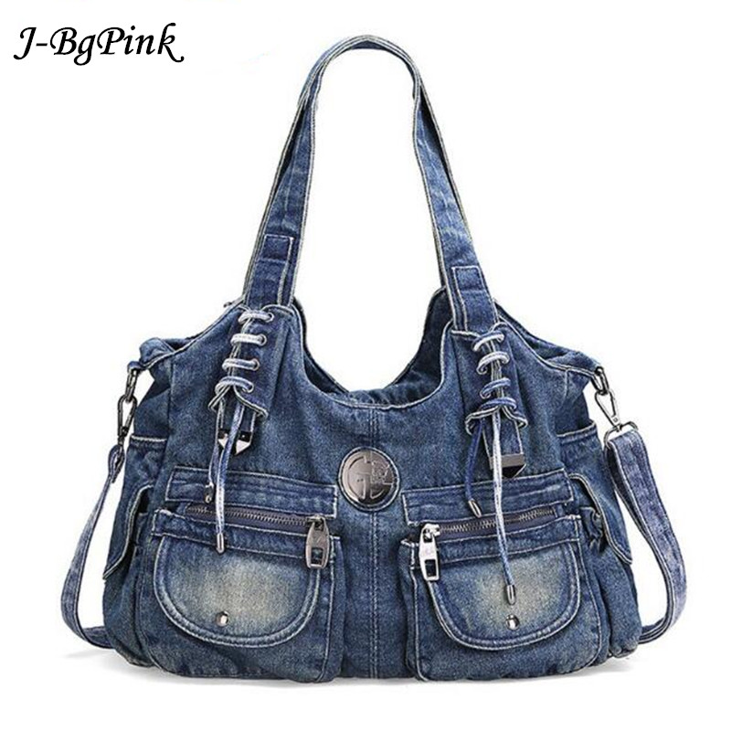 Cowboy Bag Fashion Women Bag Vintage Casual Denim Handbag Lady Large Capacity Jeans Tote Weave tape Creative Shoulder Messenger