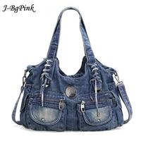 Cowboy Bag Fashion Women Bag Vintage Casual Denim Handbag Lady Large Capacity Jeans Tote Weave Tape