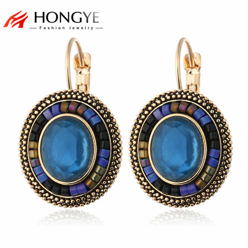 Bohemian Vintage Antique Silver Gold-color Crystal Rhinestone Oval Stone Statement Clip Earrings Ethnic Jewelry Wholesale
