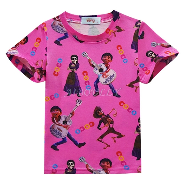Cartoon Movie COCO Children Pajamas Set Summer Short Sleeve T-shirt Tops + Pants Sleepwear Casual Girls Boys Clothing Sets 3-10Y