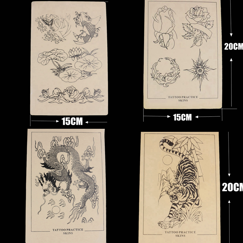 Mixed 4 Kind Of Tattoo Practice Skin Sheet 15 x 20cm Tattooing Fake Practice Skin For Tattoo Body Art Free Shipping