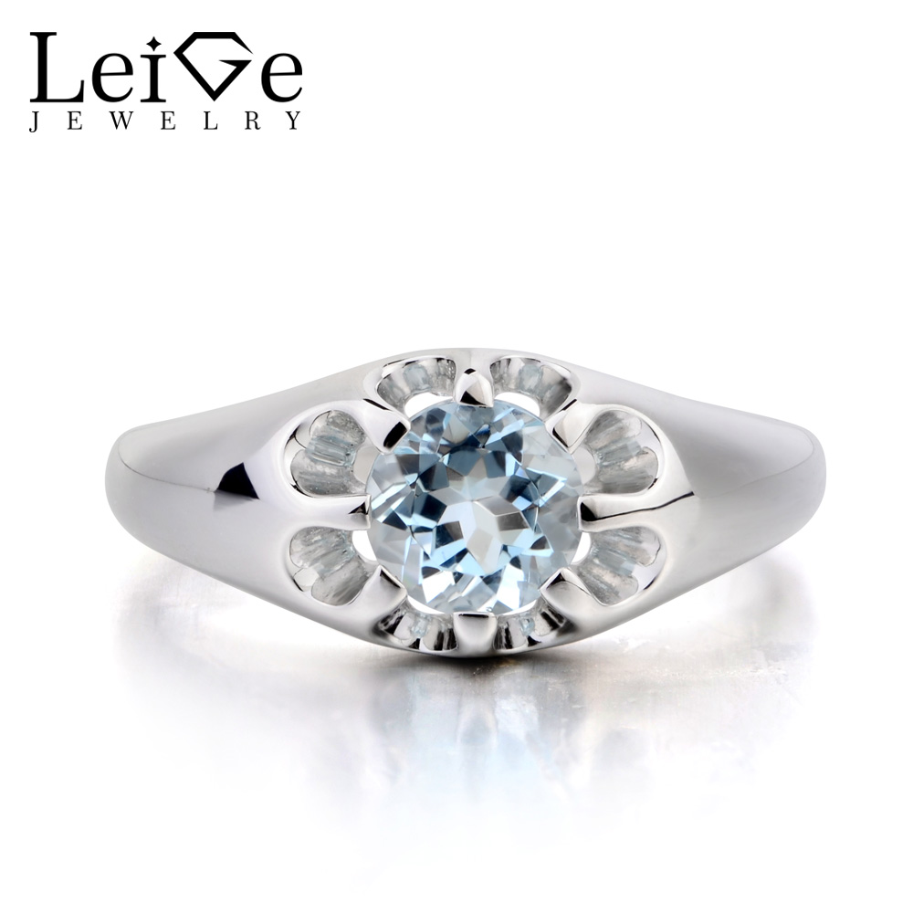 Leige Jewelry Flower Shape Ring Wedding Ring Natural Aquamarine Ring Blue Gemstone 925 Sterling Silver Ring March Birthstone