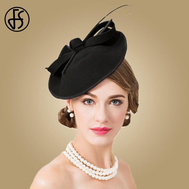 FS 100% lana sombrero de iglesia para las mujeres negras Formal elegante  tocados Vintage fieltro sombreros mujeres sombreros boda pastillero gorra 937fbc5dec3