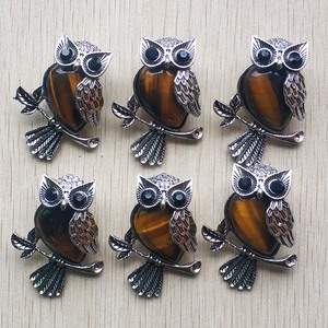 Image 3 - Fashion Vintage copper Plated Owl cute natural tiger eye stone onyx opal pendants for jewelry making wholesale 12pcs/lot free