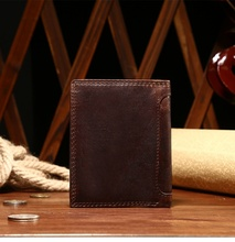 Genuine Leather Men Retro Wallet Crazy Horse Trifold Purse Card Holder