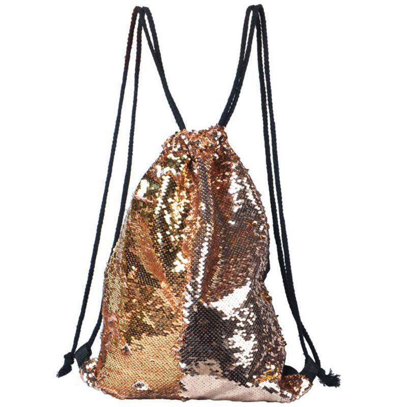 Reversible Sequin Drawstring Bag Cinch Sack Backpack Purses Rucksack + Headwear Set For Kids Girls