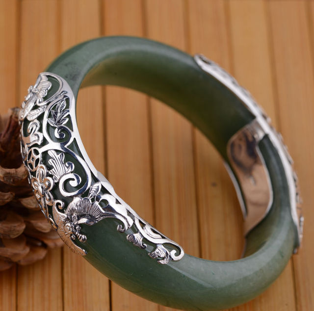 Dongling jade bracelet S925 silver inlaid silver wholesale mother's birthday gift female fashion essential