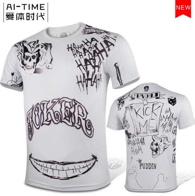 0b123c8c3ba4 Online Shop Movie Suicide Squad Joker Tattoo Cosplay Short Sleeve T-Shirt  Shirts Tops Tee