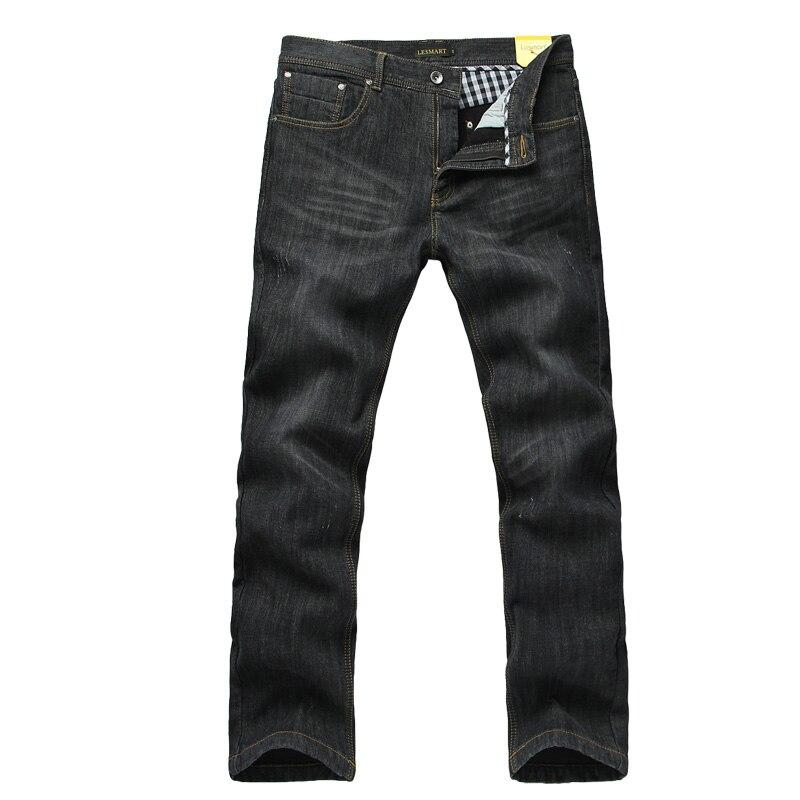 ФОТО Lesmart Men's Denim Jeans Fashion Casual Business Cotton Spandex Heavyweight Thicken Warm Zipper Straight Mid Solid Slim Fit