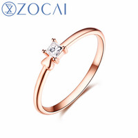 ZOCAI New Design Gift Ring Real certificated 0.09 CT Diamond Ring with 18K Rose Gold (Au750) W80104T