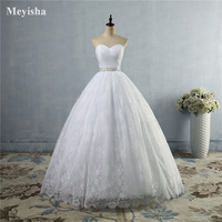ZJ9023 2016 New Stock US Size 2 26 White/Ivory Pleat Beading Crystal Ball Wedding Dress Bride Gowns