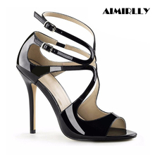 купить Aimirlly Women Shoes Peep Toe High Heels Shiny Strappy Sandals Ankle Strap Stiletto Summer Party Dress Shoes Elegant Lady Heels дешево