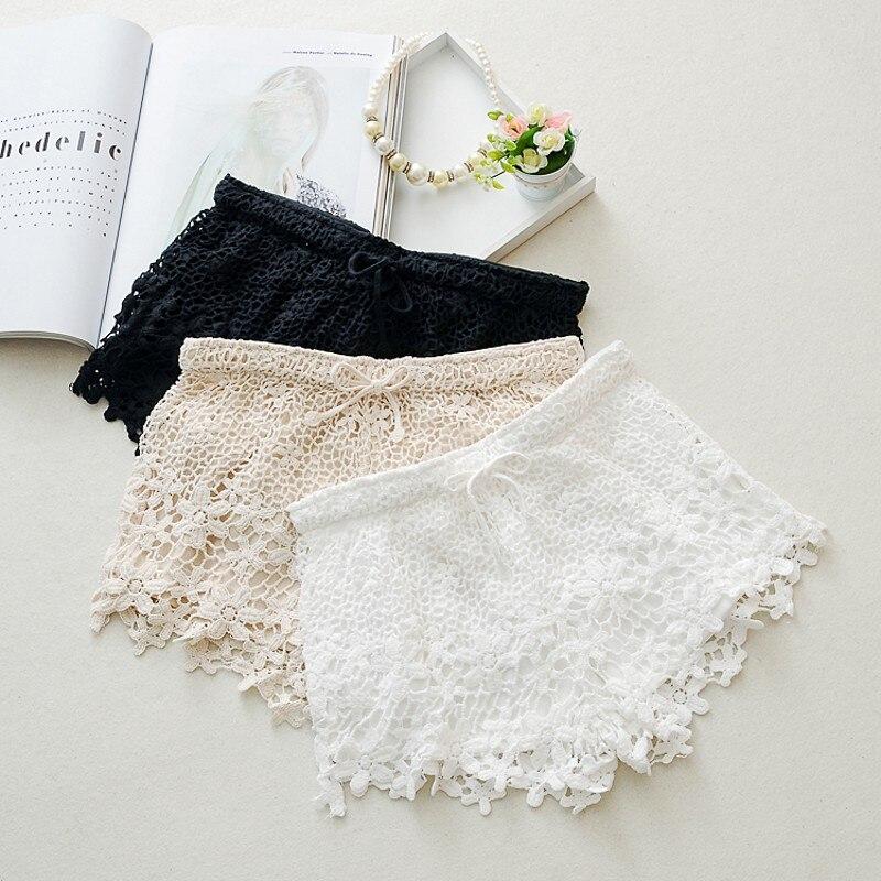 2018 New Summer Women Lace   Shorts   crochet white color female fringed edge Fashion   shorts   beautiful   shorts