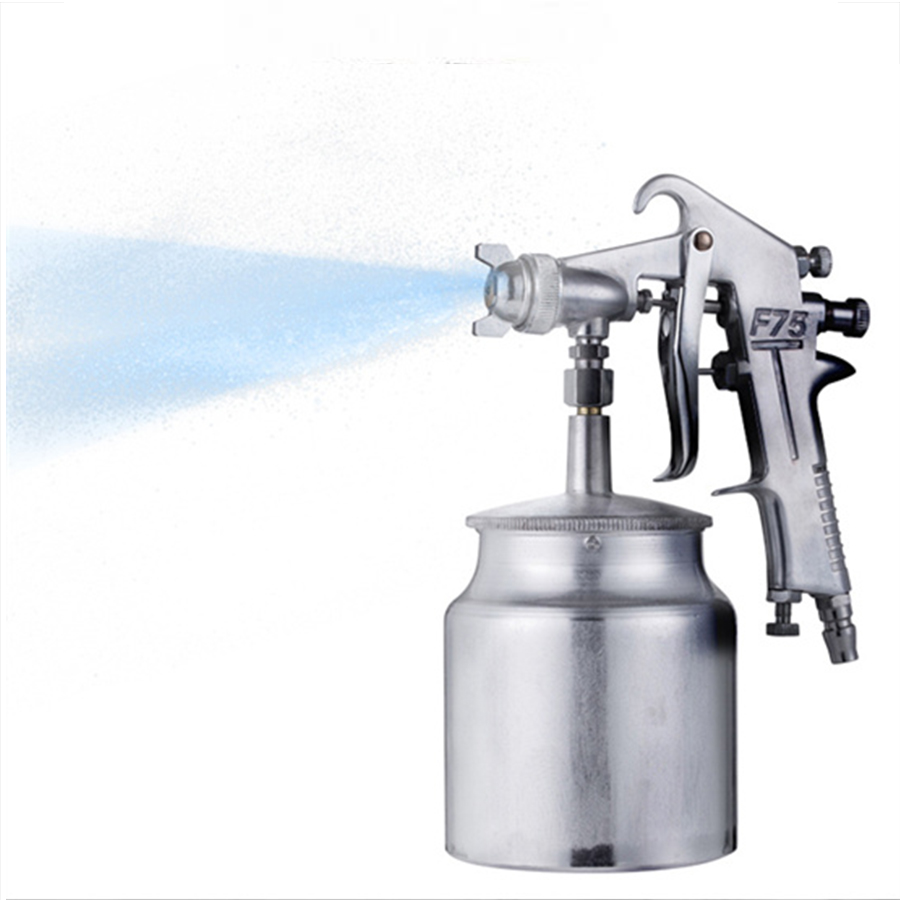 600ML F75 Car Pneumatic Spray Gun Airbrush Sprayer Alloy Painting Atomizer Airbrush Tool HVLP Fed Lacquer 1.5mm Set Up Aluminum