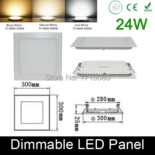 ФОТО Thickness Dimmable 24W LED panel light 300* 300mm flat square LED Recessed ceiling light 4000K for home luminaria lighting lamp