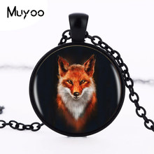 Venda quente raposa logotipo pingente colar feito à mão resina cabochon tibetano redondo corrente pingente colar feminino jóias hz1