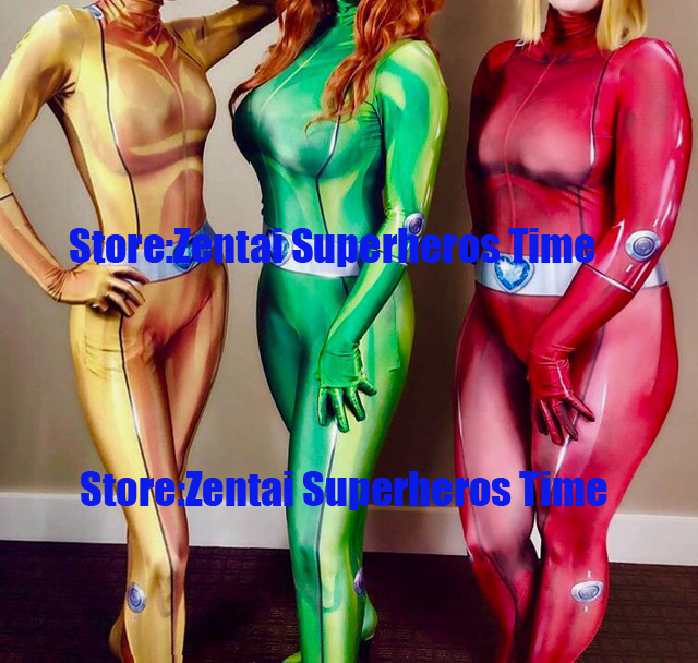 3D Print Sexy Women Lady Girl Totally Spies Alex Sam Clover Base Suit Lycra Spandex Superhero