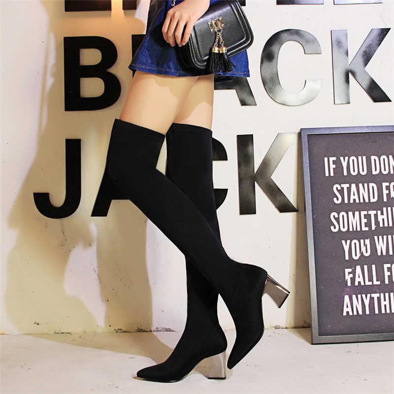 Bigtree รองเท้าผู้หญิงกว่าเข่าบู๊ทส์ผู้หญิงรองเท้า botines mujer สีดำรองเท้าส้นสูงกว่าเข่ารองเท้าสตรีเครื่องรางรองเท้าส้นสูง