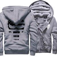 Thick Hoodies Men 2017 Winter Fleece Warm Sweatshirt With Hat Print Punisher Skull Hip Hop Punk