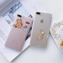 c48814ea31 Cartoon Garfield Cat Lovely Soft TPU Clear Back Cover for iPhone 8 7 7 Plus  6s Plus Fashion Phone Case Skin for Apple Iphone X