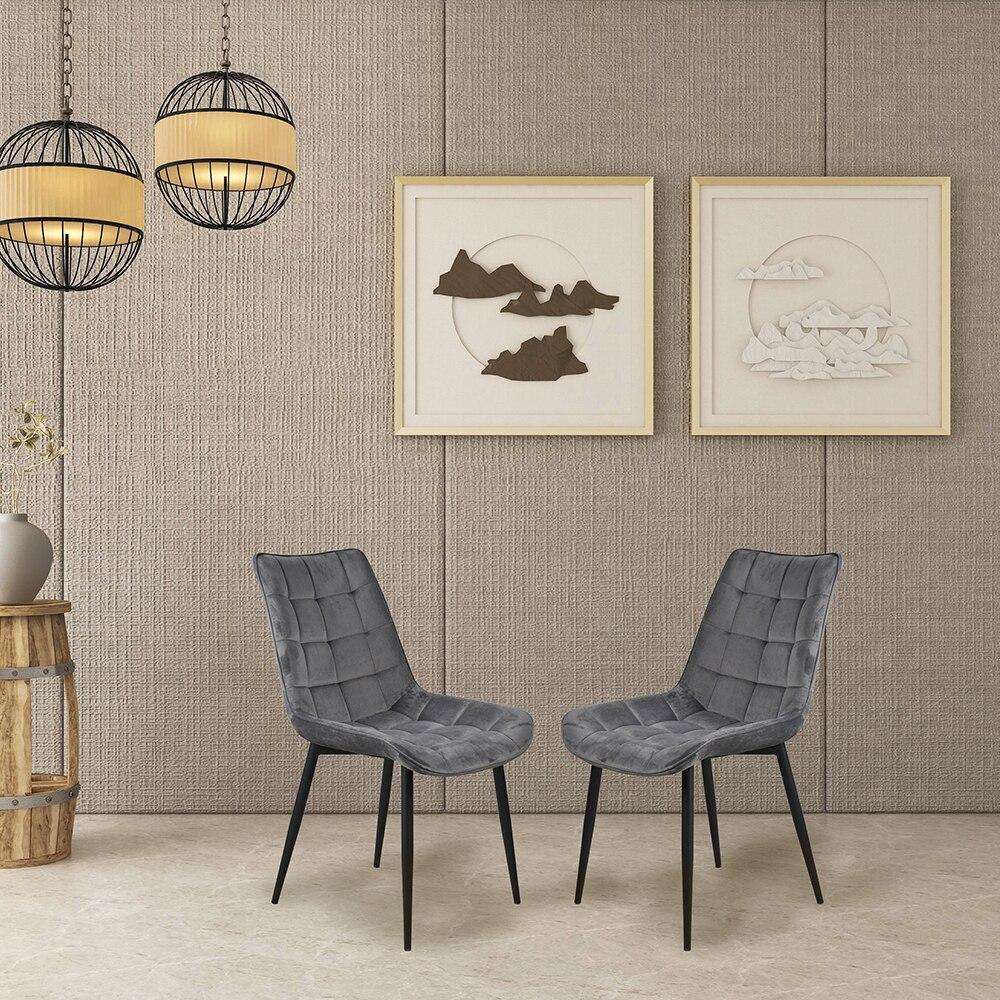 2 pièces chaise de salle à manger avec pieds en métal velours coussin siège dossier matériaux supérieurs cadre en acier de haute qualité pour salon salle d'attente